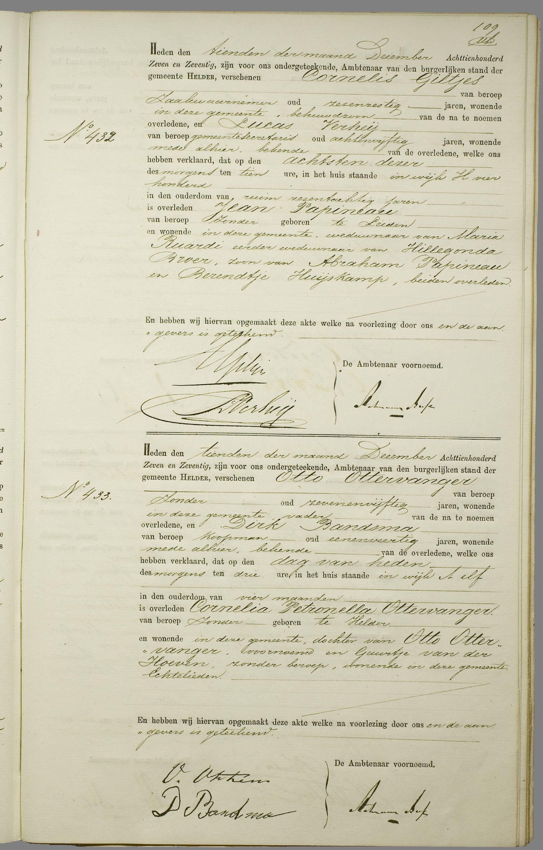 Overlijden Jean Papineau Op 8 December 1877 Te Den Helder Open