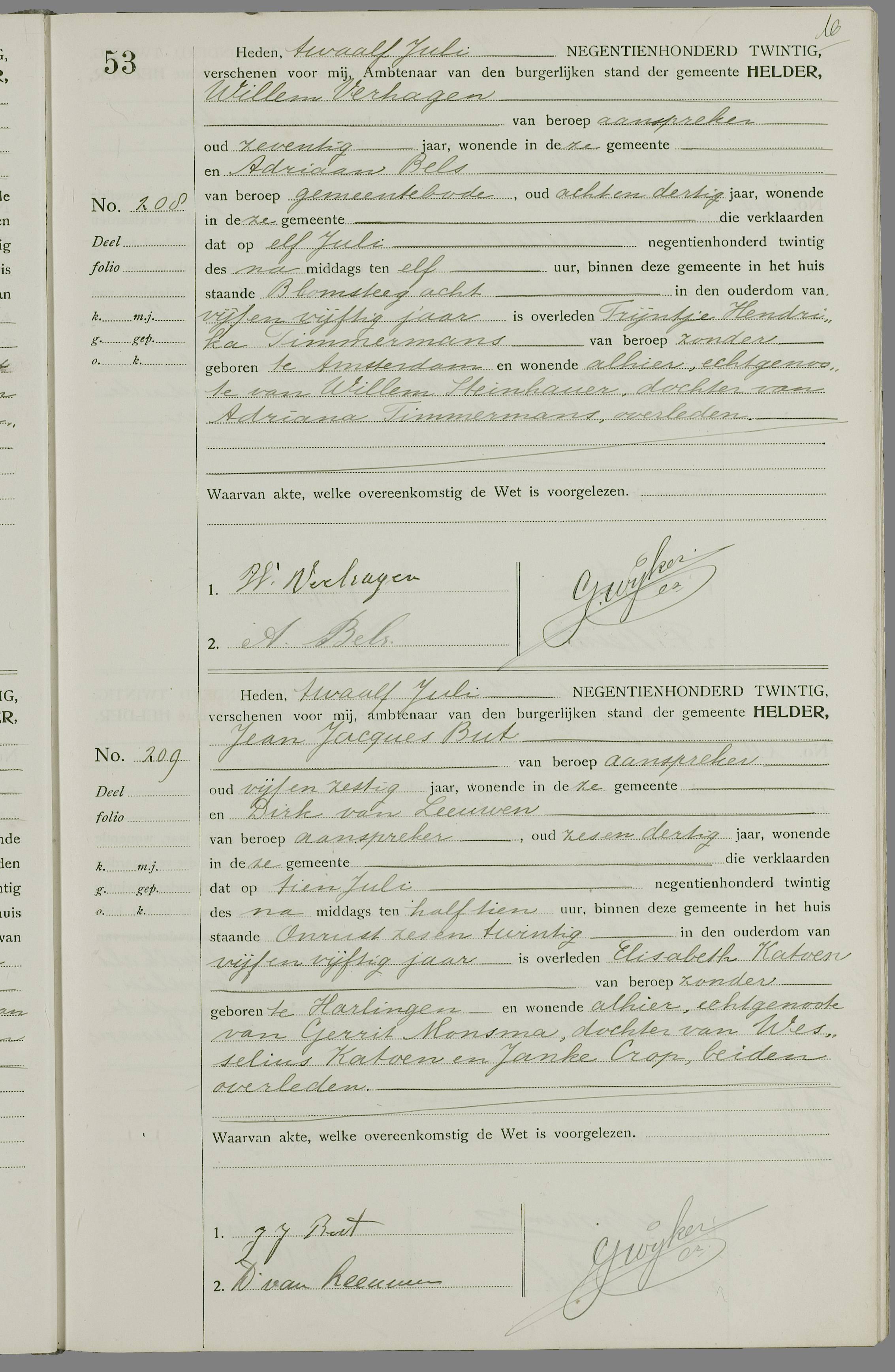 Overlijden Elisabeth Katoen Op 10 Juli 1920 Te Den Helder Open