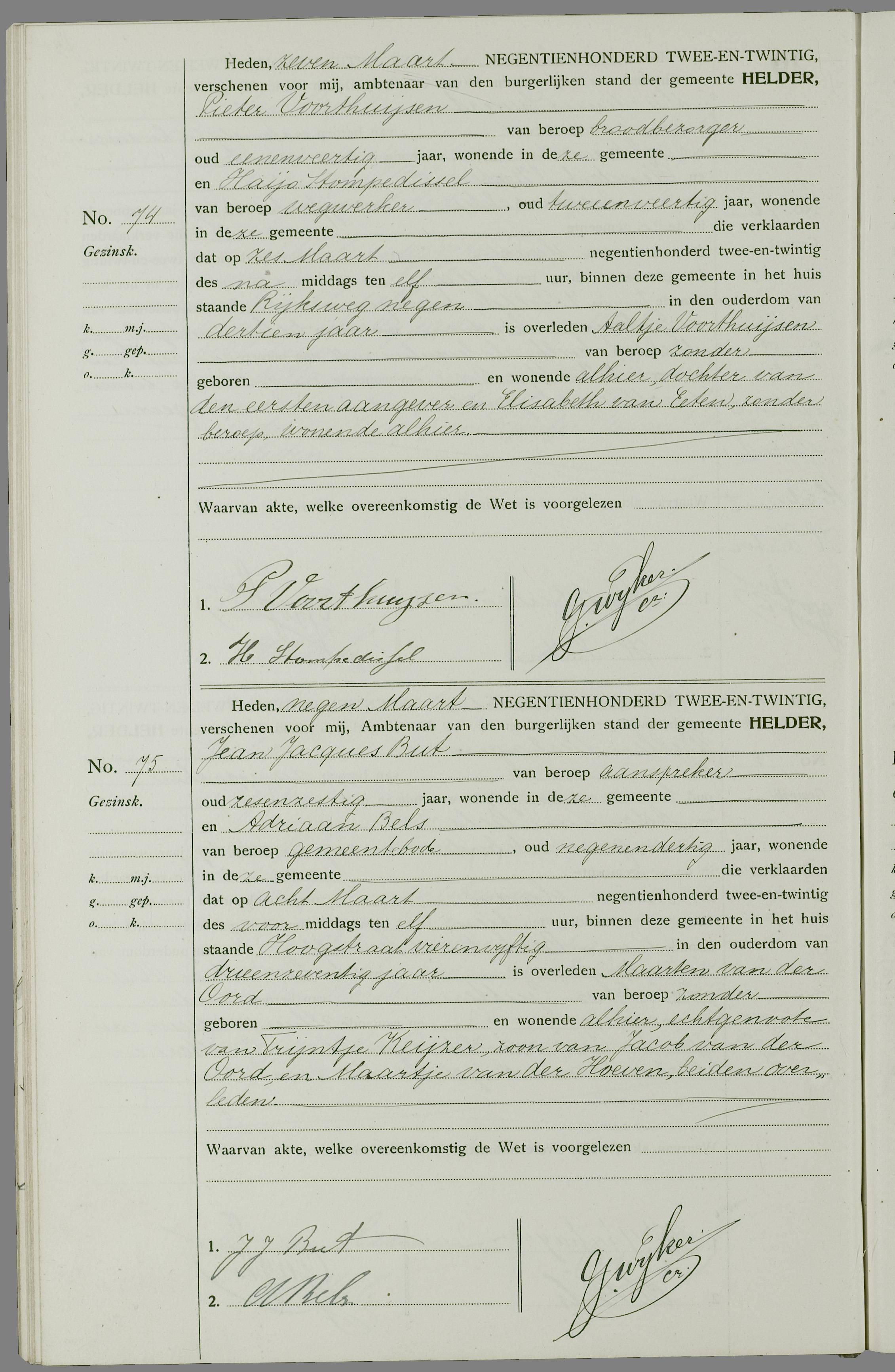 Overlijden Maarten Van Der Oord Op 8 Maart 1922 Te Den Helder Open