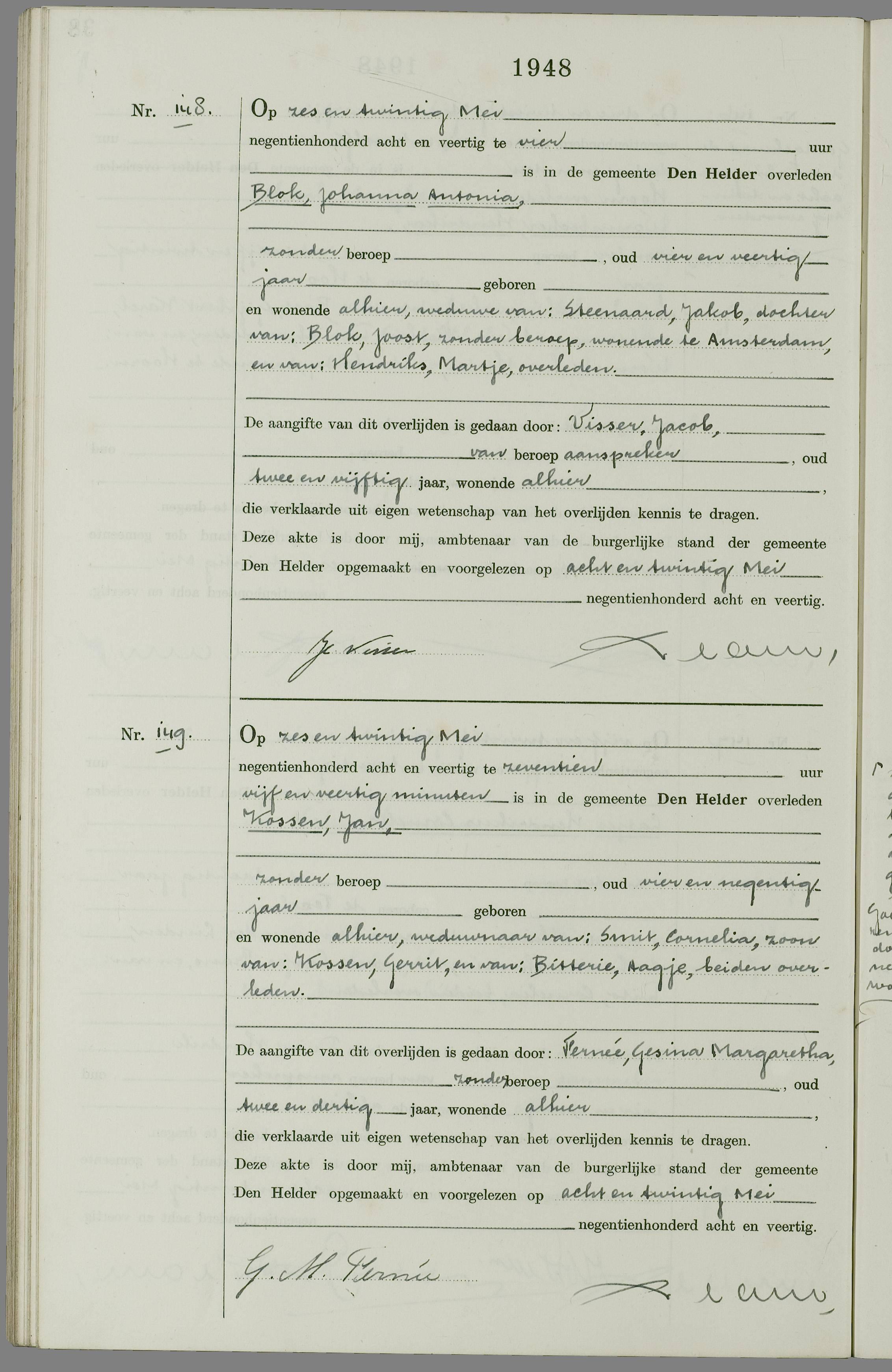 Overlijden Jan Kossen Op 26 Mei 1948 Te Den Helder Open Archieven