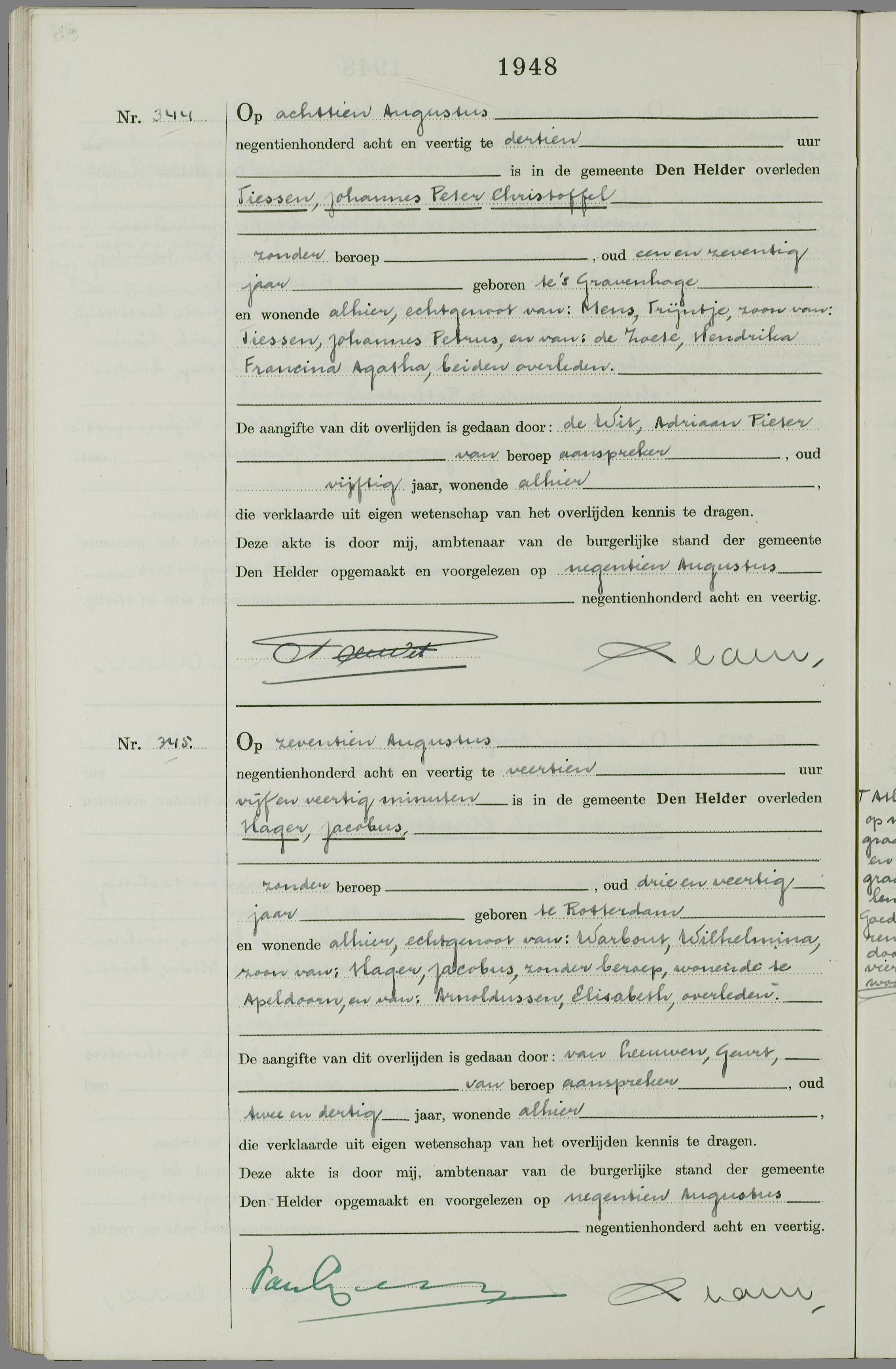 Overlijden Jacobus Hager Op 17 Augustus 1948 Te Den Helder Open