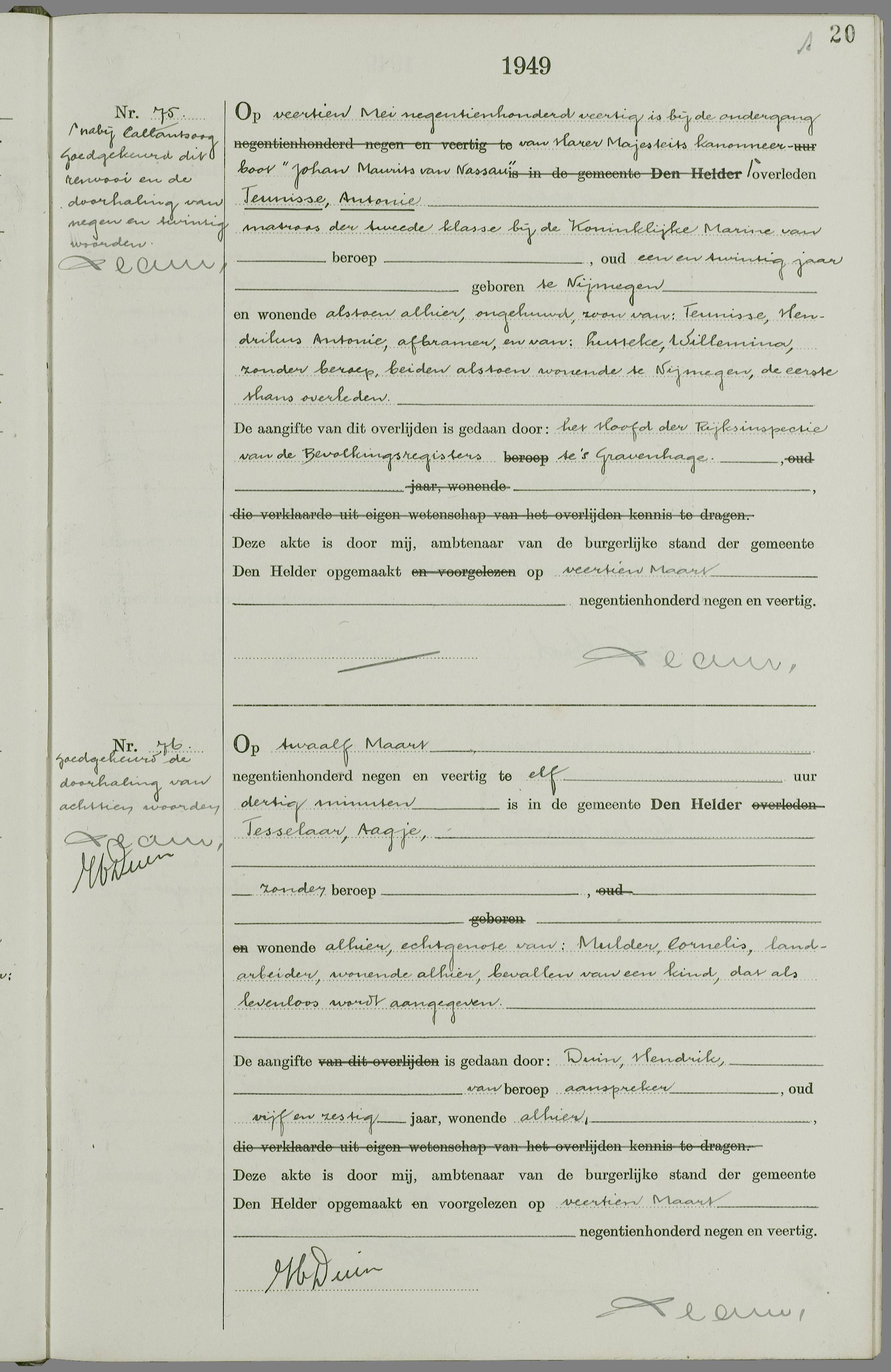 Overlijden Levenloos Geboren Kind Mulder Op 12 Maart 1949 Te Den