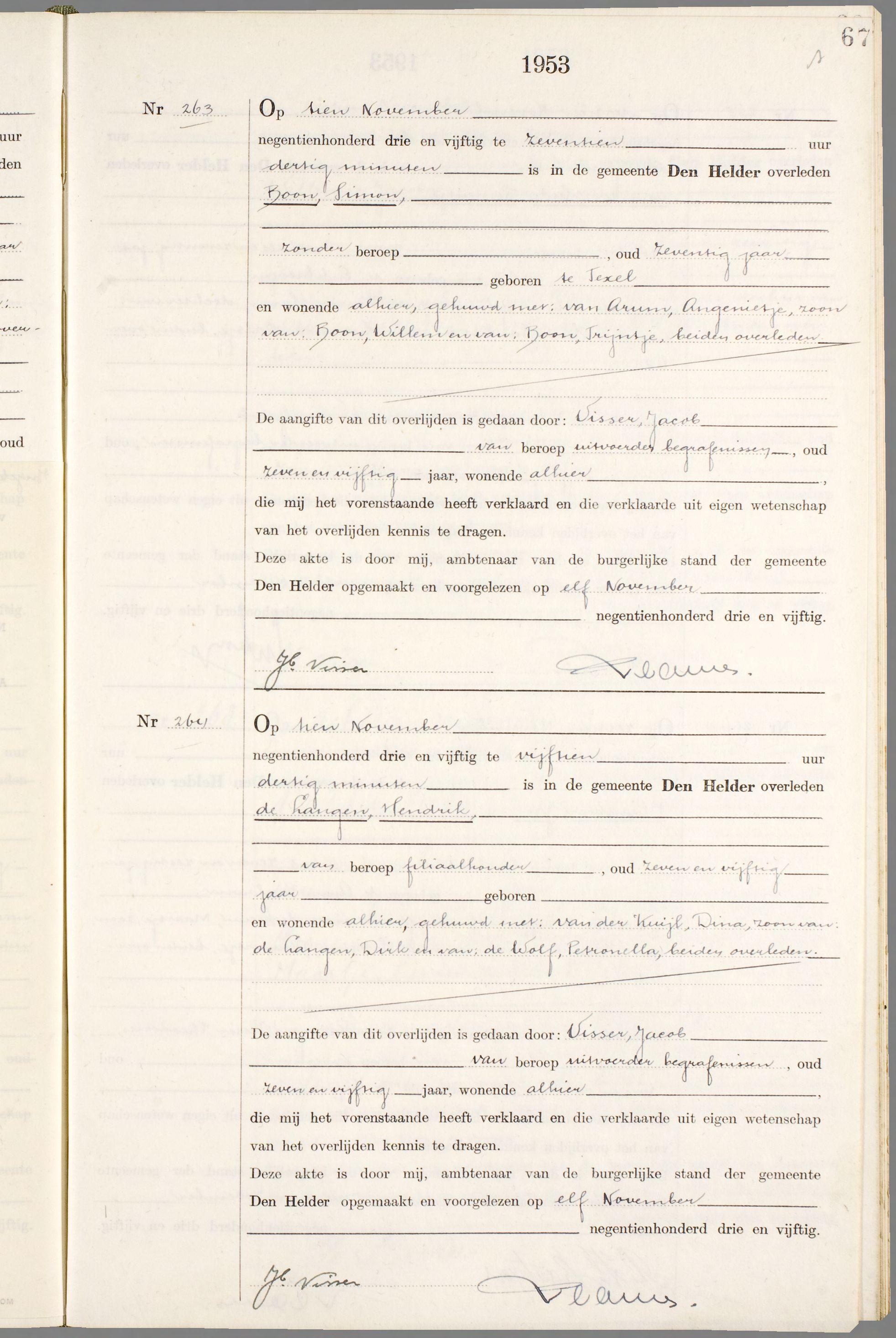 Overlijden Simon Boon Op 10 November 1953 Te Den Helder Open Archieven