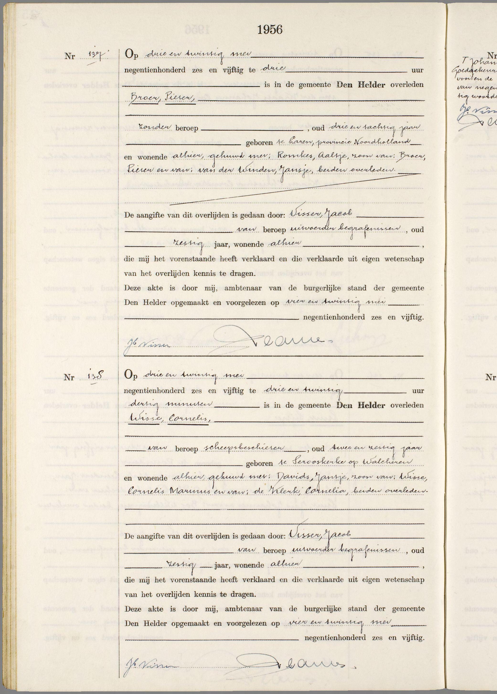Overlijden Pieter Broer Op 23 Mei 1956 Te Den Helder Open Archieven