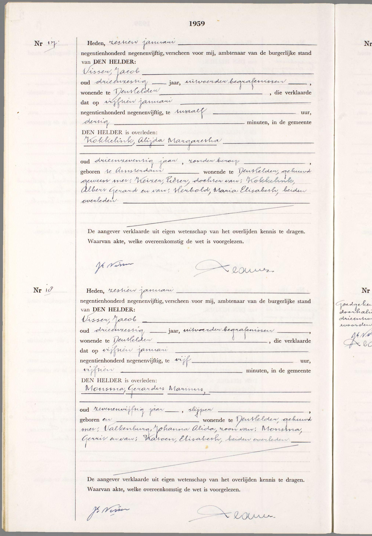 Overlijden Alijda Margaretha Kokkelink Op 15 Januari 1959 Te Den