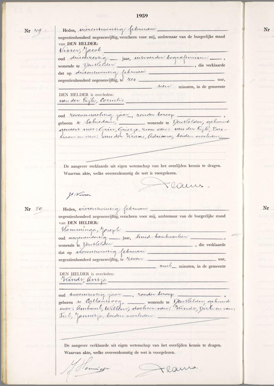 Overlijden Cornelis Van Der Eijk Op 23 Februari 1959 Te Den Helder
